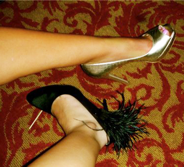 Feathers and gold make for perfect Sin City shoes.